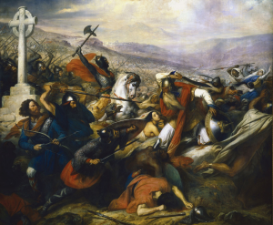 Charles de Steuben's Bataille de Poitiers en octobre 732 depicts a triumphant Charles Martel (mounted) facing 'Abdul Rahman Al Ghafiqi (right) at the Battle of Tours.